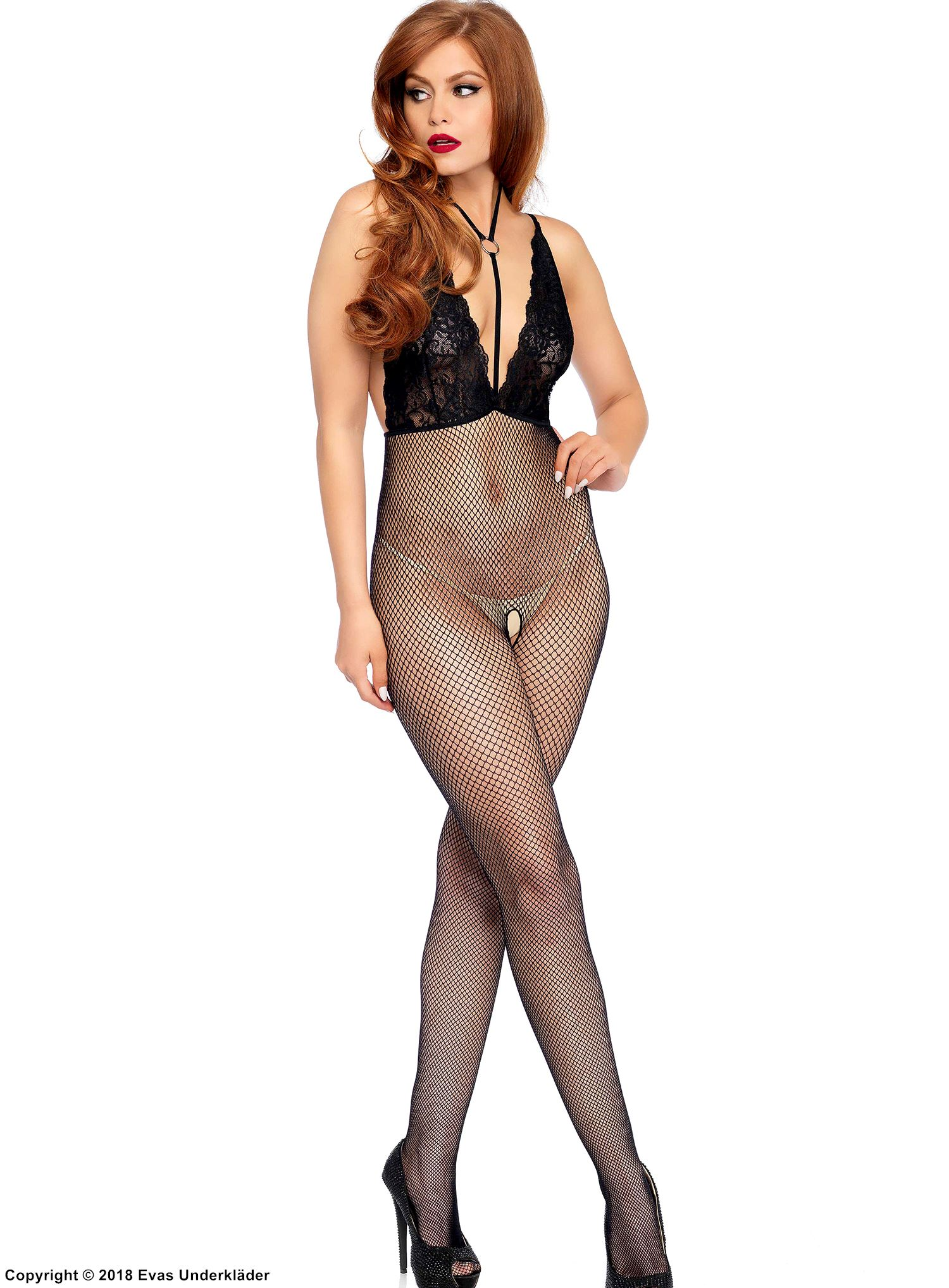Elegant bodystocking, lace cups, open back, small fishnet